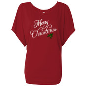 Christmas 1 - Ladies' Flowy Draped Sleeve Dolman T-Shirt 3
